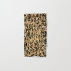 Gold Thread on Black | Abstract Brain Map 3 Hand & Bath Towel