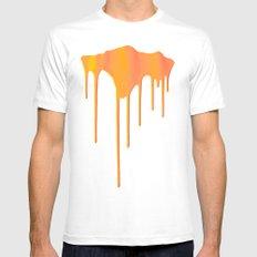 Orange Splatter White Mens Fitted Tee SMALL