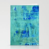 Abstract Blue & Green Stationery Cards