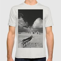 Southwold Beach huts Mens Fitted Tee Silver SMALL