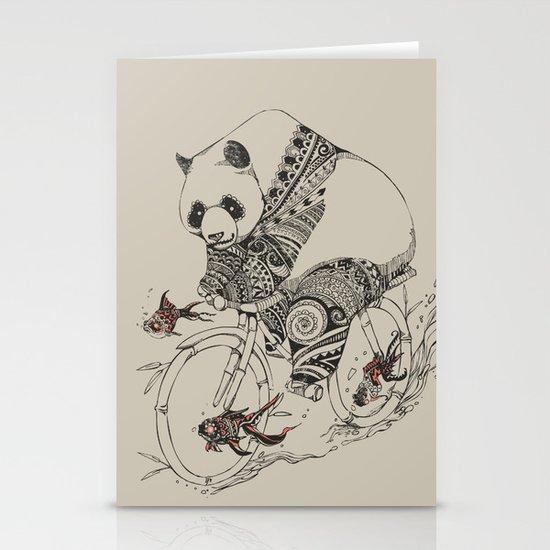 Panda and Follow Fish Stationery Card