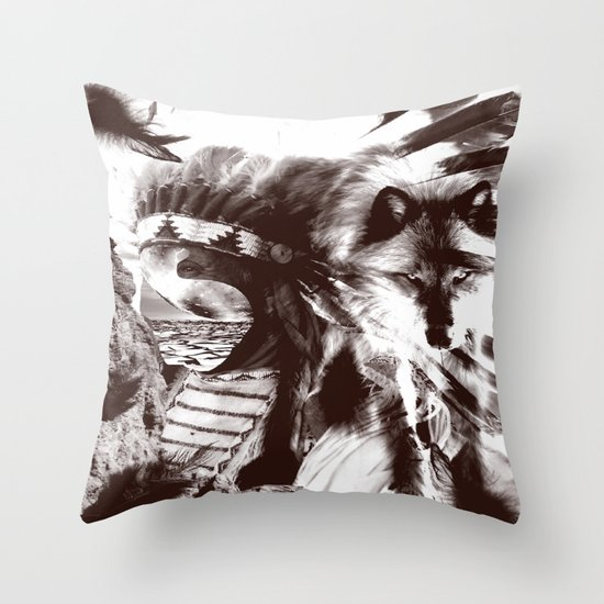 native wolf  Throw Pillow