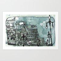 Gloomy Cityscape Art Print