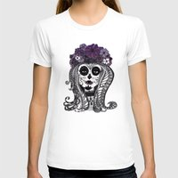 FLOWER CANDY SKULL Womens Fitted Tee White SMALL