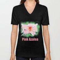 Pink rhododendron, azalea flower photo art. color pencil sketch style. Unisex V-Neck