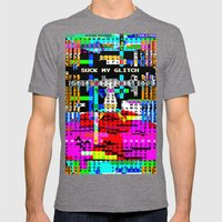 Suck my Glitch Mens Fitted Tee Tri-Grey SMALL