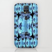 Galaxy S5 Cases featuring AQUAMARINE GEMS ON BLACK ABSTRACT by sharlesart