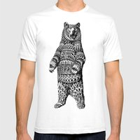 Ornate Grizzly Bear Mens Fitted Tee White SMALL
