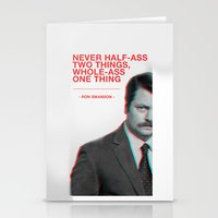 Ron Swanson - Never Half… Stationery Cards