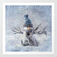 Cute Snowman Frozen Free… Art Print