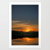 Sunset, Lake, Pine Forest & Crescent Moon Composite Art Print