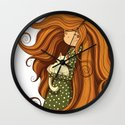 Girl and white cat Wall Clock