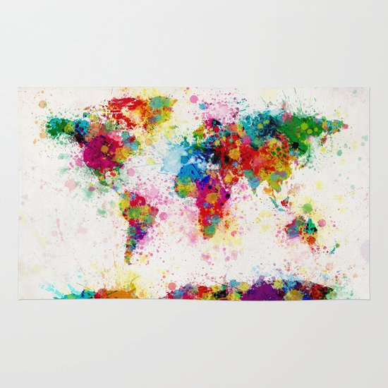 Map of the World Map Paint Splashes Area & Throw Rug