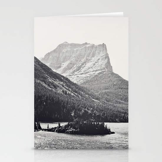 Glacier Mountain Lake Black and White Stationery Card