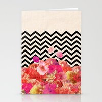 collage Stationery Cards featuring Chevron Flora II by Bianca Green