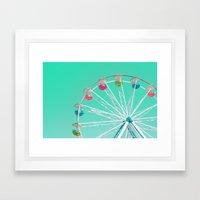 Minty Ferris Wheel of Happiness Framed Art Print