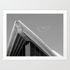 Skywriting above the Sydney Opera House - Valentine's Day Art Print