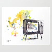 Retro Television Painting Art Print