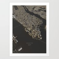 Art Print featuring Manhattan City Map by Luis Dilger