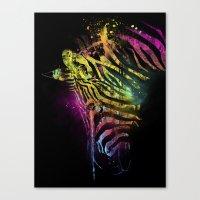 Zebra Mood Technicolor Canvas Print