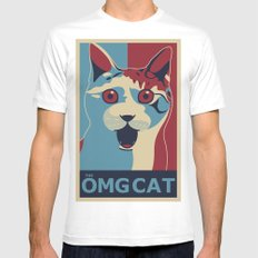 ✩ The OMG Cat Poster SMALL Mens Fitted Tee White
