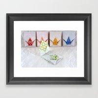 Origami Peace Crane Envelopes Framed Art Print