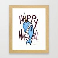 Happy Narwhal Framed Art Print