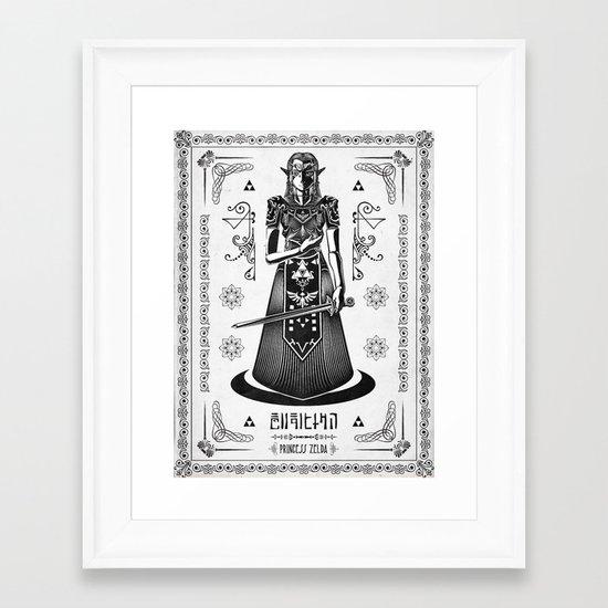 Legend of Zelda Princess Zelda Line Work  Framed Art Print