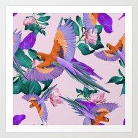 Parrot Paradise (Pink) Art Print