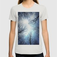 Black Trees Blue Sky Womens Fitted Tee Silver X-LARGE