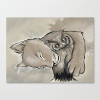 Lion and Owl Canvas Print