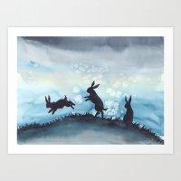 Blue Bunnies Art Print