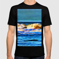 Abstract rolling waves Mens Fitted Tee Black SMALL