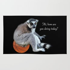 Cute ring tail monkey and basketball, soccer ball. Animal photo art. Rug