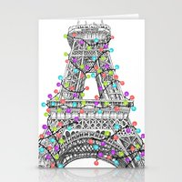 Paris Eiffel Tower Holiday Lights Multi Stationery Cards