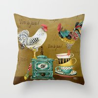 Roosters Majestic Throw Pillow