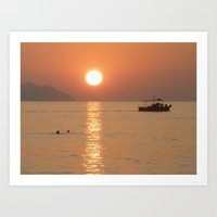 Sunset In Sea Art Print