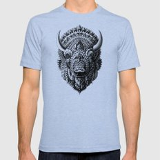 Bison Mens Fitted Tee Tri-Blue SMALL