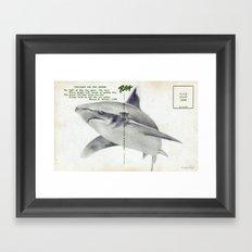Postcard Shark Framed Art Print