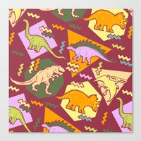 Nineties Dinosaur Pattern version 2. Canvas Print