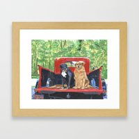 Antique Truck with Dogs Framed Art Print
