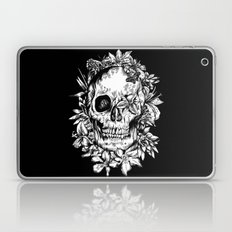 floral skull drawing black and white 2 Laptop & iPad Skin