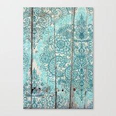 Teal & Aqua Botanical Doodle on Weathered Wood Canvas Print