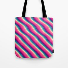 Abstract Color Burn Pattern - Geometric Lines / Optical Illusion in Rainbow Acid Colors Tote Bag