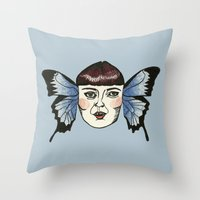 Butterfly Lady. Throw Pillow
