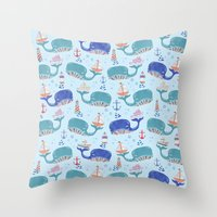 whales in a Row Throw Pillow