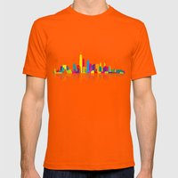 New WTC Skyline Mens Fitted Tee Orange SMALL