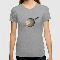 Saturn Womens Fitted Tee Tri-Grey SMALL