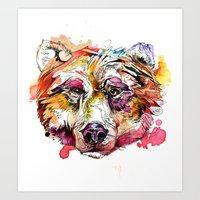 Vivid Grizzly Art Print