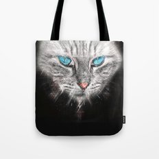 Silver Abstract Cat Face with blue Eyes Tote Bag